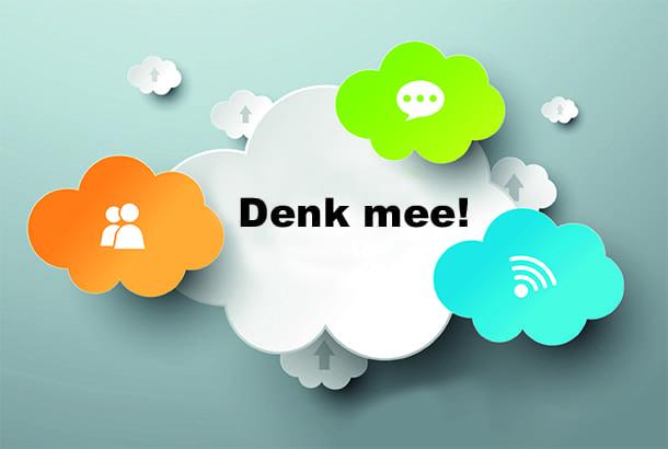 Illustratie met tekst 'Denk mee!'