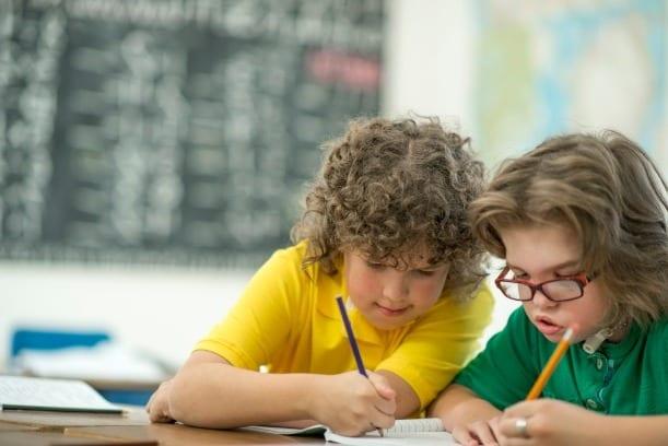 twee leerlingen werken samen